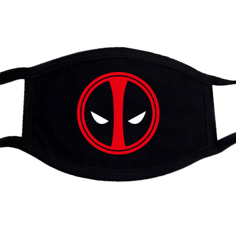 Deadpool Venom Hip Hop Casual Face Mask Unisex Dustproof Funny Print Mouth Muffle Mask Black Bilayer Winter Warm Cotton Maks