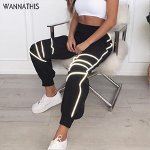 купить WannaThis Black Patchwork Striped Reflective Flash Cargo Pants Women Streetwear Casual Tapered Loose Jogger Trousers 2019 Autumn по цене 949.61 рублей