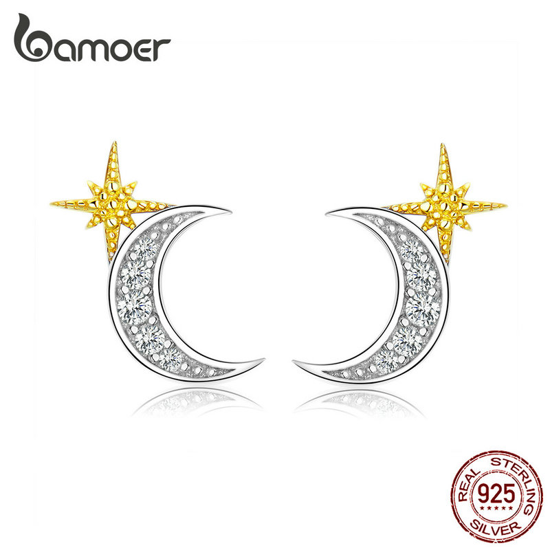 Bamoer Moon And Stars Stud Earrings For Women Authentic 925 Sterling Silver Luxury Anti-allergy Jewelry Gifts For Girl SCE729