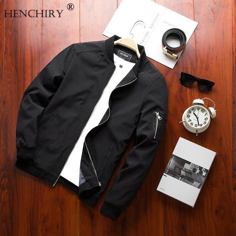 HENCHIRY Men Bomber Jacket Thin Slim Long Sleeve Baseball Jackets Windbreaker Zipper Windbreaker Jacket Male Outwear Top Jackets