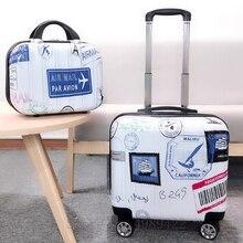 18 дюймовая тележка багаж комплект мультфильм милый ребенок 27 лет путешествия чемодан с колесами ручная кладь каюта багаж студент косметика сумка тележка