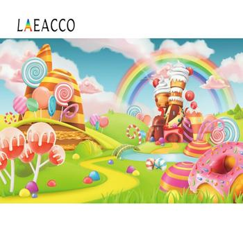 цены Vinyl Backdrops For Photography Rainbow Castle Fairytale Candy Dessert Lollipops Baby Photo Background Photocall Photo Studio