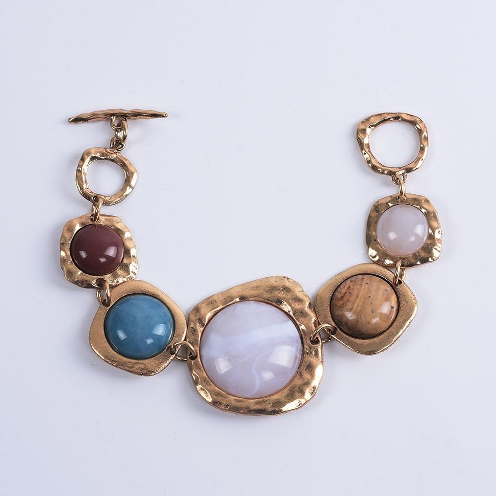 Bohème ethnique Bracelets femmes Za contraste métal creux pierre Bracelets femme Vintage Statment amitié Bracelets pour femme 3
