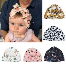 Newborn Infant Toddler Kid Baby Cute Soft Cotton Knot Printed Rabbit Ears Turban Hat Indian Flower Cap Baby Accessories For Baby(China)
