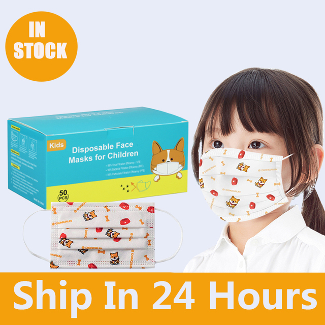 3-13 years old Disposable Elastic Mouth Soft Breathable Cartoon dog printing Hygiene Child Kids Face Mask Kawaii Dropshipping