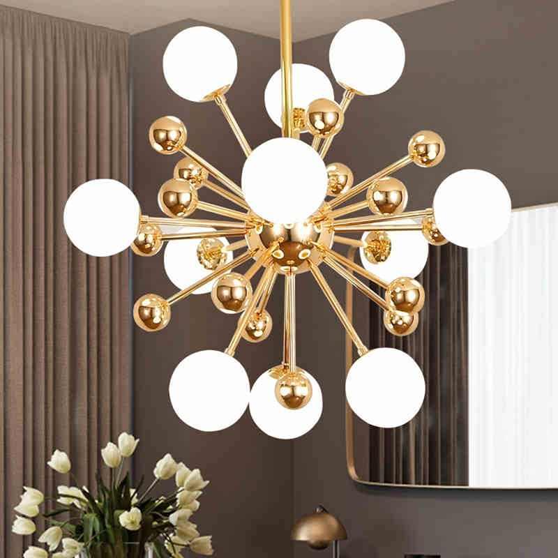 modern chandelier glass led lamp design sputnik flush mount light fixtures living room bedroom decor home chandeliers lighting