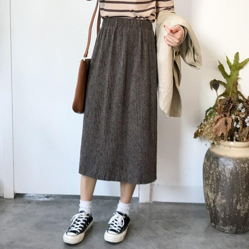 Photo Shoot 2019 Spring New Style WOMEN'S Dress A- Line Elastic High Waist Skirt Mid-length Slit Skirt