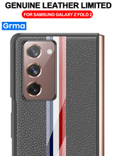 Grma Luxury Foldable Real Genuine Leather Acrylic Cover For Samsung Galaxy Z Fold2 Fold 2 Folder 2 5G Case Front and Back Case