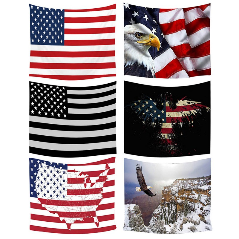American Flag Print Independence Day Alpine Eagle Tapestry Shawl Background Wall Beach Towel