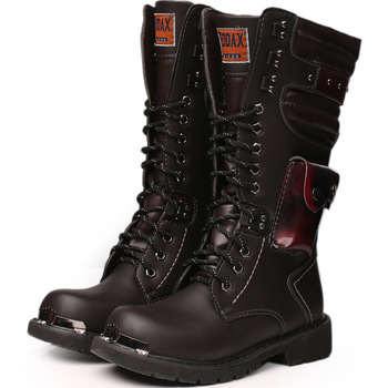 Knee boots men shoes leather High Equestrian motocycle Men High boots outdoor military boots