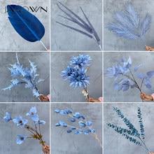 Jarown azul real azul escuro flor planta folha material artificial linha de flores diy adereços rosa peônia decoração do casamento decoração festa