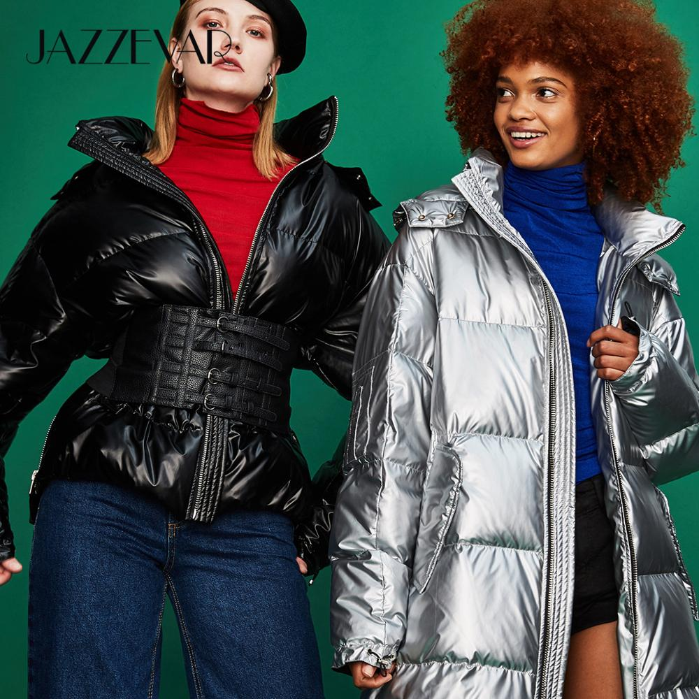 JAZZEVAR 2019 Winter New Fashion Street Womens Edgy Sliver Long Down Jackets Cool Girls Zipper Hooded Down Coat Outerwear Z18004