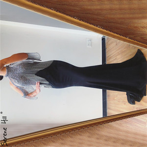 Image 4 - Serene Hill Black Mermaid Sexy Jersey Evening Dresses Gowns 2020 Luxury Beading Tassel Elegant For Women Party LA70346