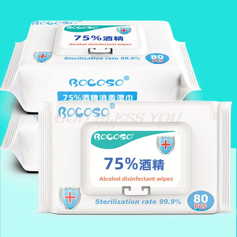 80Pcs/Pack 75% Alcohol Antiseptic Disinfection Pads Sterilization Household Skin Cleaning Hand Sanitizing Flip-Top Wet Wipes