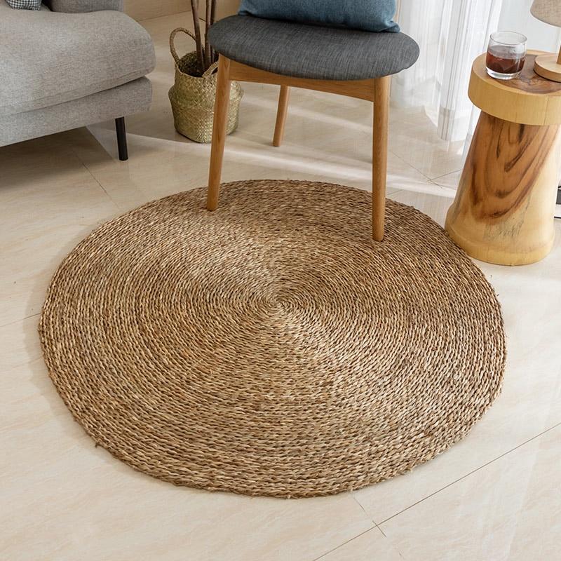 Rattan Wicker Floor Carpet Rattan Mat Floor Tile Round Hand Knit Floor Rug