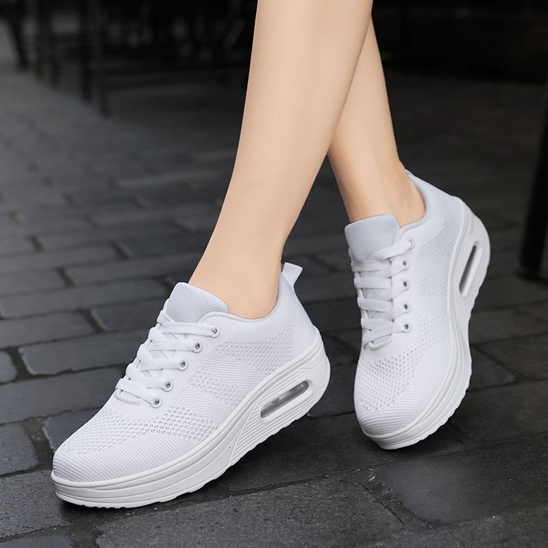 Sneakers Women Air Cushion Platform  Mesh Breathable Flat Shoes Fashion Lace Up Footwear Ladies Comfort Casual Basket Trainers