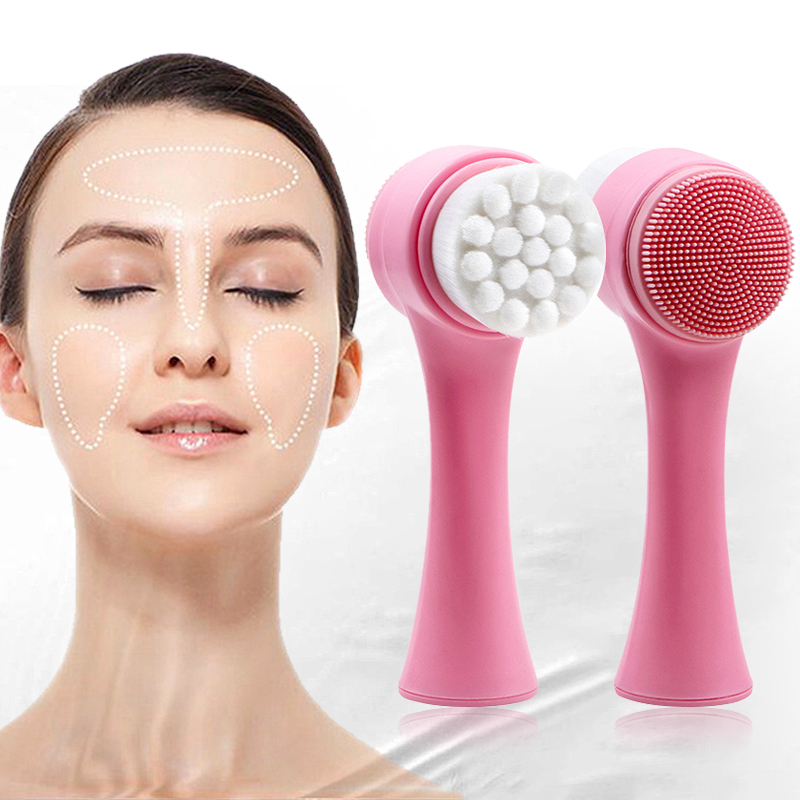 1 Pcs Portable 3D Face Cleaning Vibration Massage Face Washing Brush Double Side Silicone Facial Cleaning Tool TSLM1
