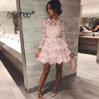 Lace Homecoming Dresses Vintage A line Full Sleeve Homecoming Dress Illusion Elegant Cocktail Dresses