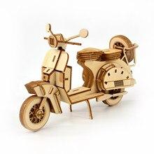 Diy de madeira puzzle modelo de construção kit motocicleta diy montagem brinquedos educativos crianças presente aniversário artesanato para decoração casa