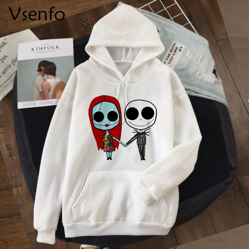 Jack Skellington Hoodies Jack And Sally Women's Sweatshirt Autumn Winter Pullover Nightmare Before Christmas Halloween