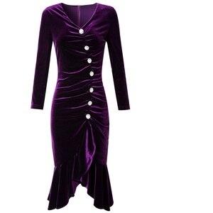 Image 5 - אביב 2019 חדש יוקרה עיצוב רטרו משרד ליידי המפלגה שמלת 3xl נשים אסימטרית שמלה בתוספת גודל סקסית ירך חבילת קטיפה שמלות