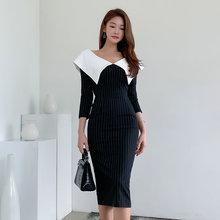 Женское платье в полоску элегантное офисное миди с v образным