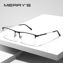 MERRYS lunettes carrées pour hommes, monture demi optique ultraléger, Style Business, Prescription pour myopie, en alliage, S2008