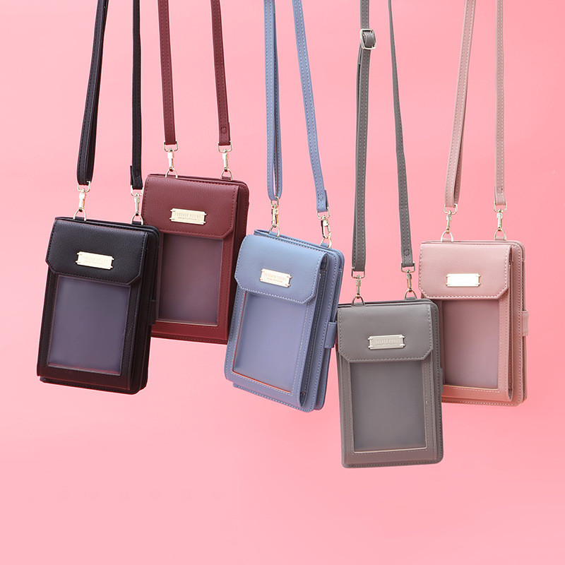 New PU Leather Phone Bag Fashion For Women Wallet Waterproof Transparent Travel Outdoors Shoulder Bags Diagonal Dropshipping