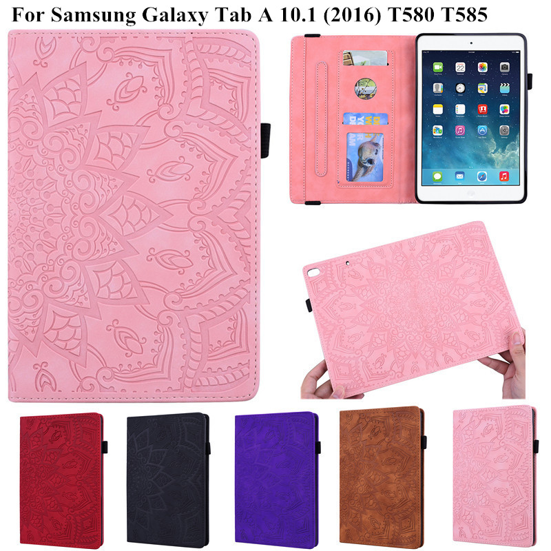 3D Flower Embossed Tablet Case For Samsung Galaxy Tab A 6 2016 10.1 Inch Flip Stand Tablet Cover For Funda Samsung SM T580 T585