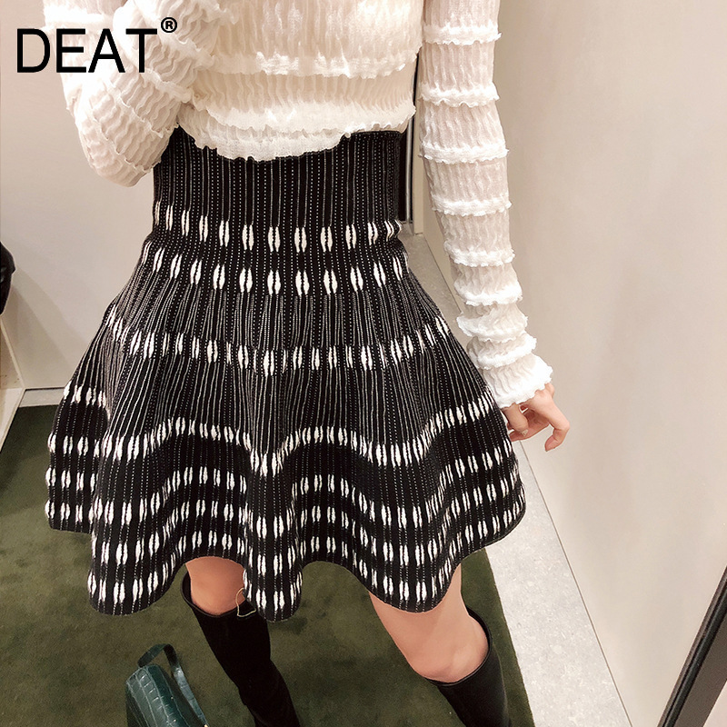 DEAT 2019 New Fashion Women Skirt High Waist Pleated A-line Striped Polka Dots Mini Length Halfbody WC60001XS