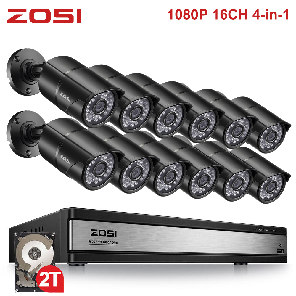 ZOSI 16CH 1080 P 2MP Imperméable D'intérieur/Extérieur Vue À Distance Système De Vidéosurveillance avec 12 pièces Balle Caméra DVR Kit