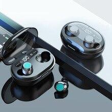 TWS 5.0 블루투스 헤드폰 3D 스테레오 무선 이어폰 (듀얼 마이크 포함) LED 디지털 전원 은행 소음 감소 헤드셋