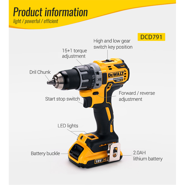 DEWALT Original 18V Lithium Battery DIY Power Driver Variable Speed Electric Screwdriver Impact Cordless Drill with LED Light 4
