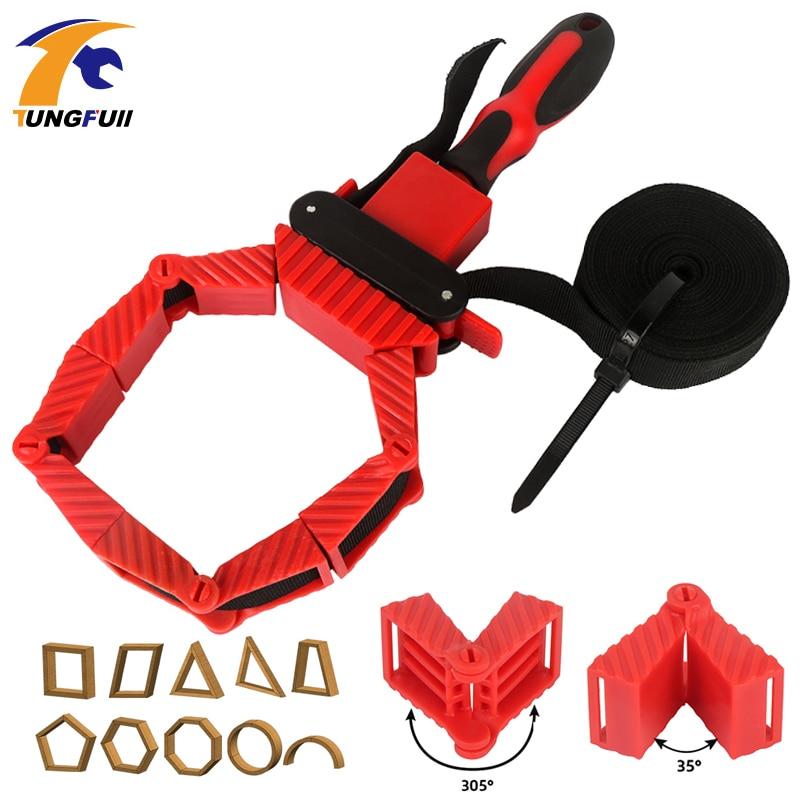 Multifunction cinto de aperto ferramentas braçadeira de tubulação carpintaria rápida faixa ajustável ferramenta braçadeira 4 m cinto de náilon poligonal ângulo braçadeira