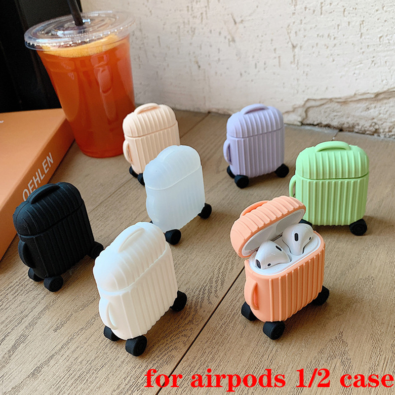 For AirPods Case Cute Simple Mini Box Cartoon Accessories Protective Silicon Cover Luxury For Air Pods 2 Case Earphone Casefunda