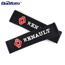 Doofoto 2x Car Seat Belt Pad Cover Accessories For Renault Duster Megane 2 3 Clio Fluence