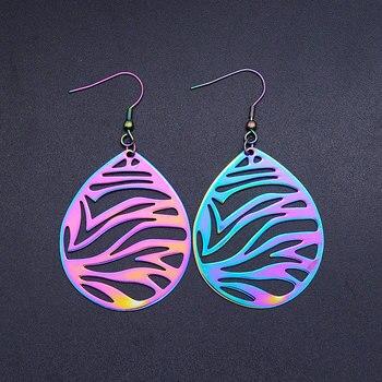 Super Unique arc-en-ciel couleur acier inoxydable mode Art déco goutte boucle d'oreille pour les femmes à la mode bijoux fête bijoux boucle d'oreille