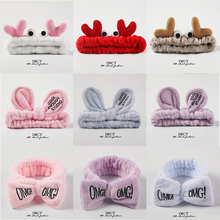 2019 New Hairbands For Women Letter Coral Fleece Wash Face Bow Girls Headbands Headwear Hair Bands Christmas Hair Accessories