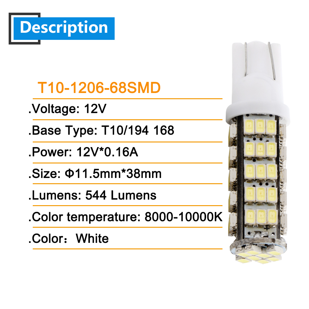 6 20pcs T10 1206 68 SMD White LED Bulbs W5W 194 927 161 Socket Type Leds Cars Pathway Lighting Reading License Plate Lights 12V in Signal Lamp from Automobiles Motorcycles