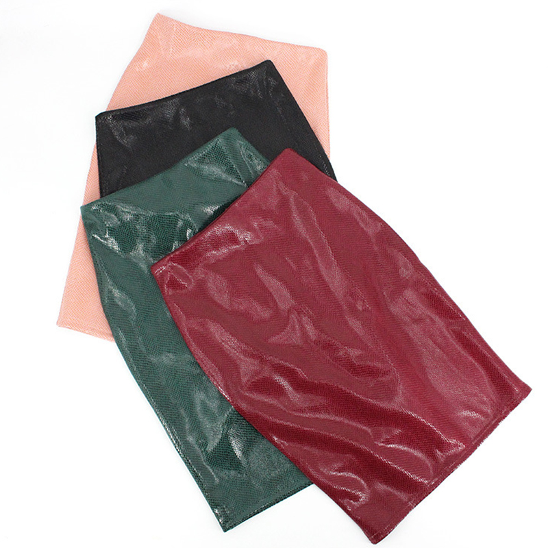 Women Sexy PU Leather Pencil Skirt High Waist Package Hip Autumn Ladies Skirt Female Elegant Skirt