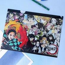 Demon Slayer Anime A4 File Bag Folder Kimetsu No Yaiba Kamado Tanjirou PVC Paper Document Bag School Office File Storage Bag