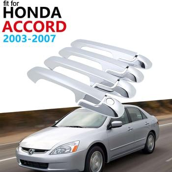 Manija de la puerta de coche accesorios para Honda Accord 2003 ~ 2007 cromo Exterior cubierta de la manija Trim Set 2004 de 2005, 2006 pegatinas