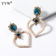 New Women'S Fashion Crystal Drop Earrings Pearl Heart Rhinestone Drop Earrings Wedding Party Earrings For Women Jewelry pair of stunning faux pearl rhinestone drop earrings for women