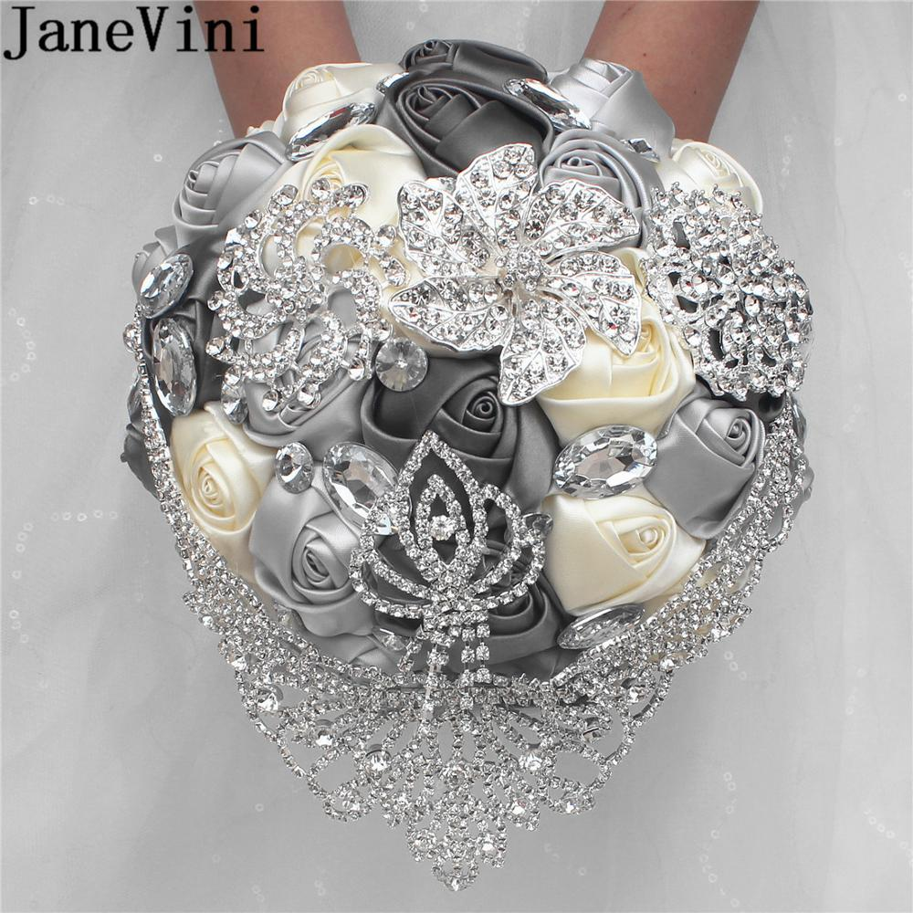 JaneVini Luxury Silver Rhinestone Wedding Bouquet Charm Gray Beaded Crystal Satin Bridal Flowers Bouquets Weeding Accessoire