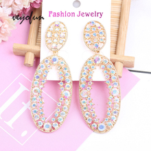 Veyofun  Hollow out Rhinestone Dangle Earrings for Women Trendy Big ZA Drop Earrings Fashion Jewelry Gift trendy rhinestone cut out winebottle keyring