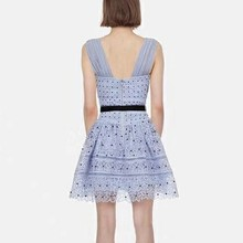 Powder Blue Guipure Lace Spiral Panelled Dress Chiffon Bandage Straps Lattice Trimmed Flare Dress Sleeveless Tank Party Dress(China)