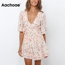Aachoae Summer Print Mini Dress Women Sexy Deep V Neck Pleated Dresses
