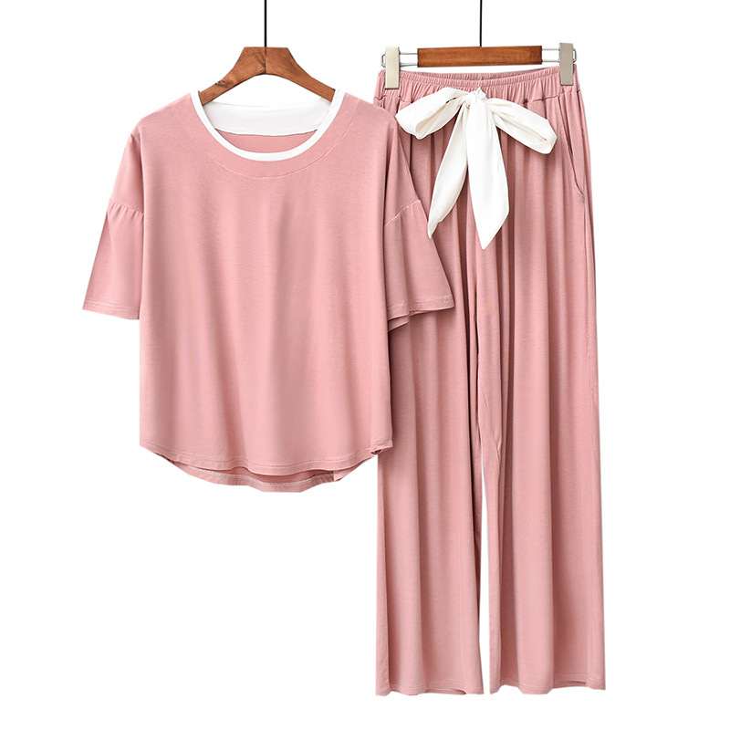 Two-piece Set Modal Material Sleepwear Set Women Pajamas Autumn Loose Trousers Long-sleeved Suit Comfortable Stretch Home Wear