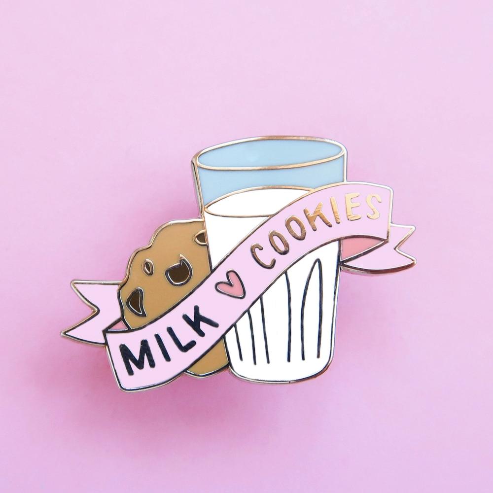 Perfeito combinar leite e biscoitos pino de esmalte duro bonito pastel sobremesa alimento broche dourado moda mochila lapela pinos presente exclusivo