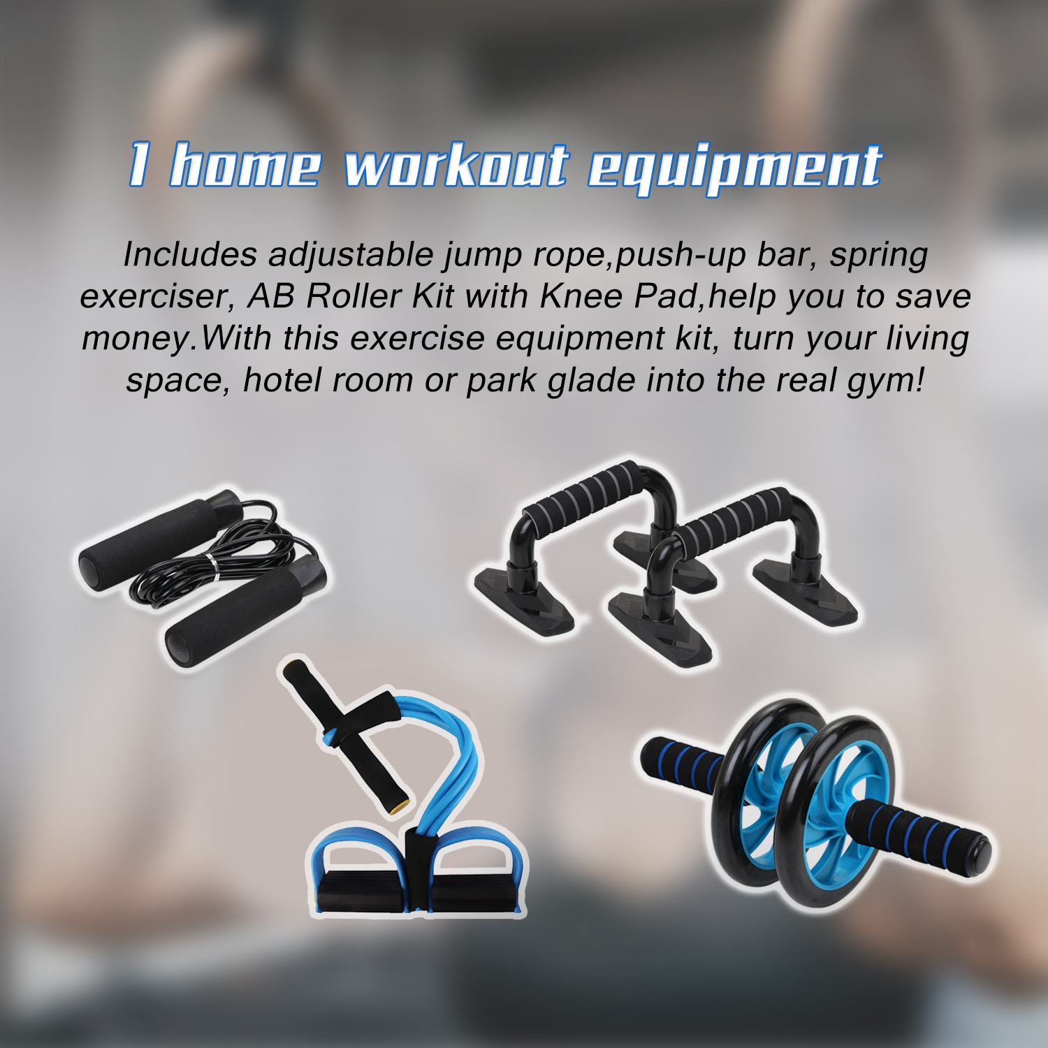H05b850969dbc4057b2ec38cbbf3d2144D - 5-in-1 AB Roller Kit Abdominal Press Wheel Pro with Push-UP Bar Jump Rope Knee Pad Gym Home Exercise  Fitness Equipment